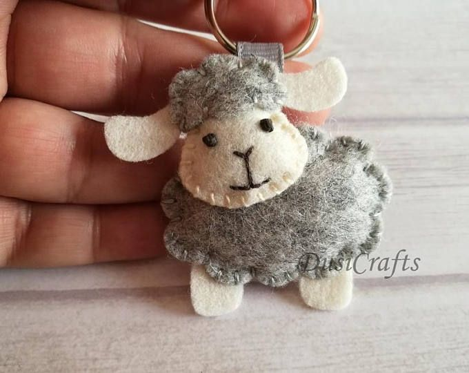 Sheep keychain, Lamb ornament, Lamb keychain, Baby Girl Sheep ornament, Pink White Baby shower favors, Pink White Christening favors