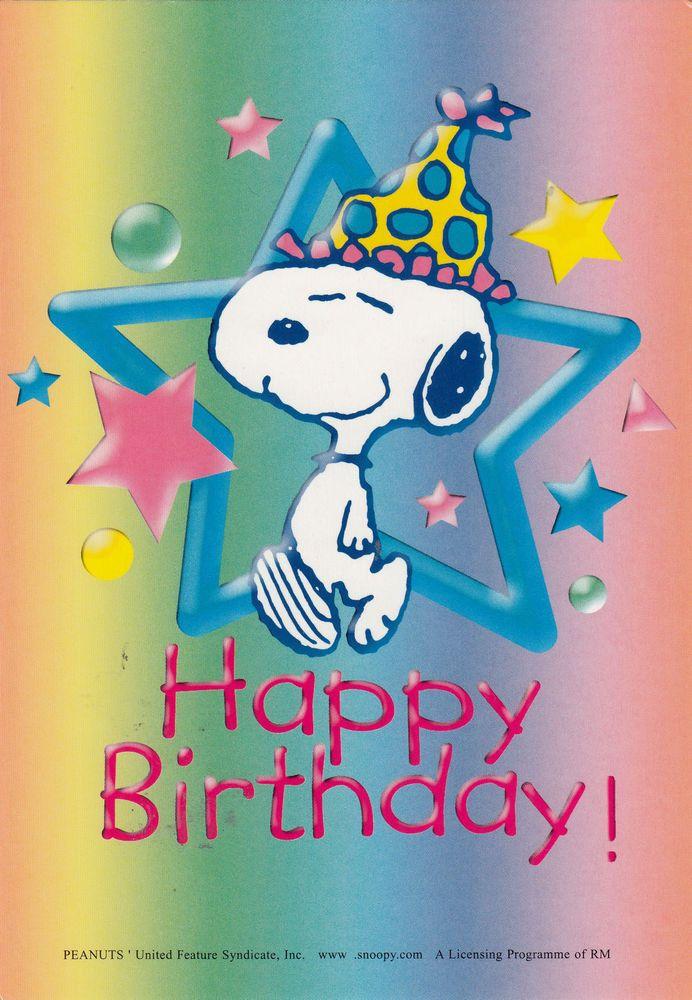 Peanuts' Comic Cartoon Snoopy Dog Happy Birthday Greeting Postcard