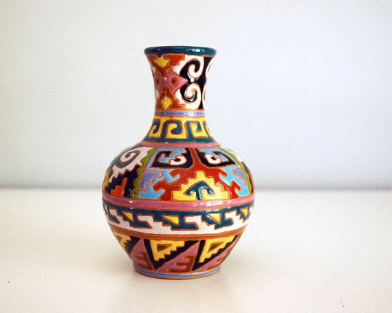 This Lovely Little Vintage Vase With Its Colorful Intricate Glaze Is Redware Pottery From