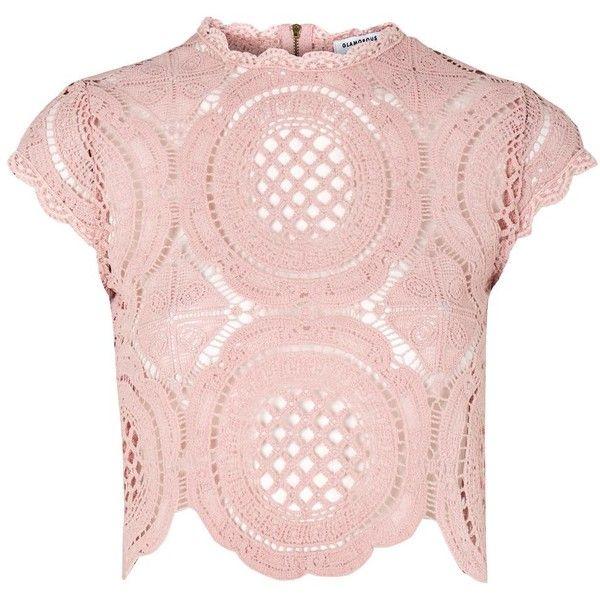 Crochet Blouse by Glamorous Petite ($36) ❤ liked on Polyvore featuring tops, blouses, pink, zipper blouse, high neck top, pink blouse, short sleeve tops and high-neck blouses
