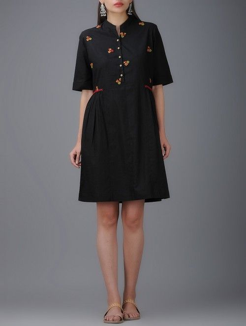 Shift Dress with Collar, Front buttons and Gathers