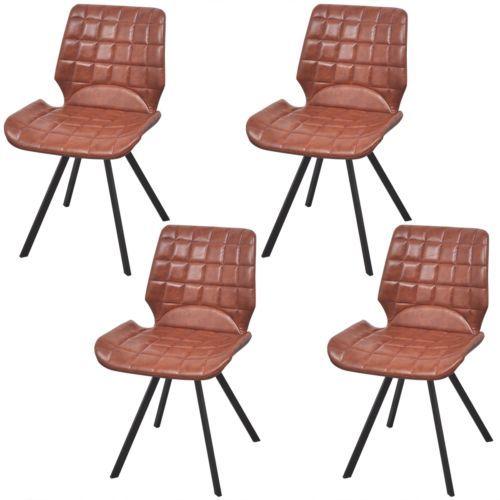 4xKüchenstuhl Esszimmerstuhl Esszimmerstühle Lehnstuhl Stühle Kunstleder Braun#Ssparen25.com , sparen25.de , sparen25.info