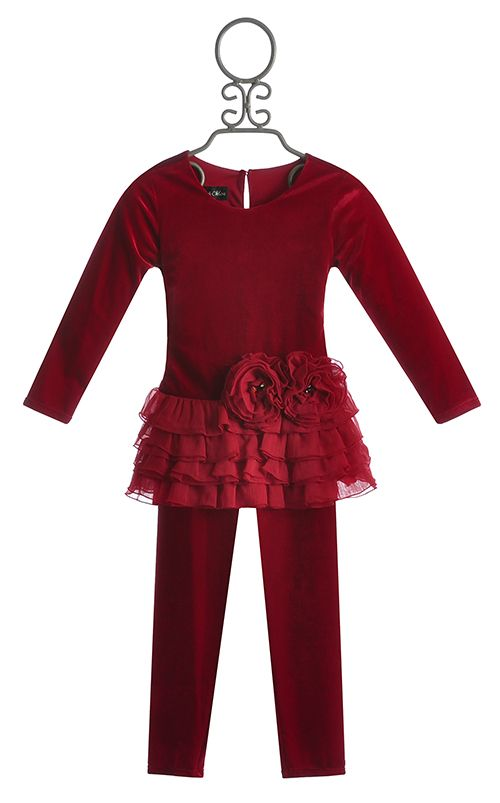 Isobella And Chloe Red Holiday Tunic With Leggings
