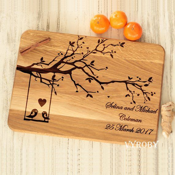 Custom cutting board, Unique engagement gift for couple, Personalized wedding gift for bride, Wood wedding gift, Tree with Love Birds