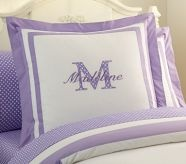 Classic Applique Bedding! C CALISSA pillow in Purple PLESE and Q QUINN pillow in Pink #potterybarnkids