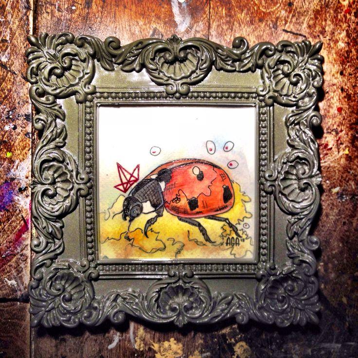 #AGA #agaartist #artist #art #work #watercolor #ladybug #crown #red  #paint