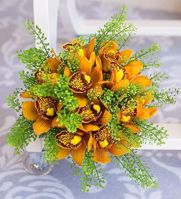 Buchet de mireasa orhidee portocalie - Buchetaria Cluj