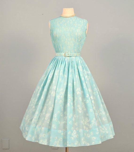 Vintage 1950s Day Dress...L'AIGLON Robin's Egg Blue Day Dress Bridesmaid Garden Party Small