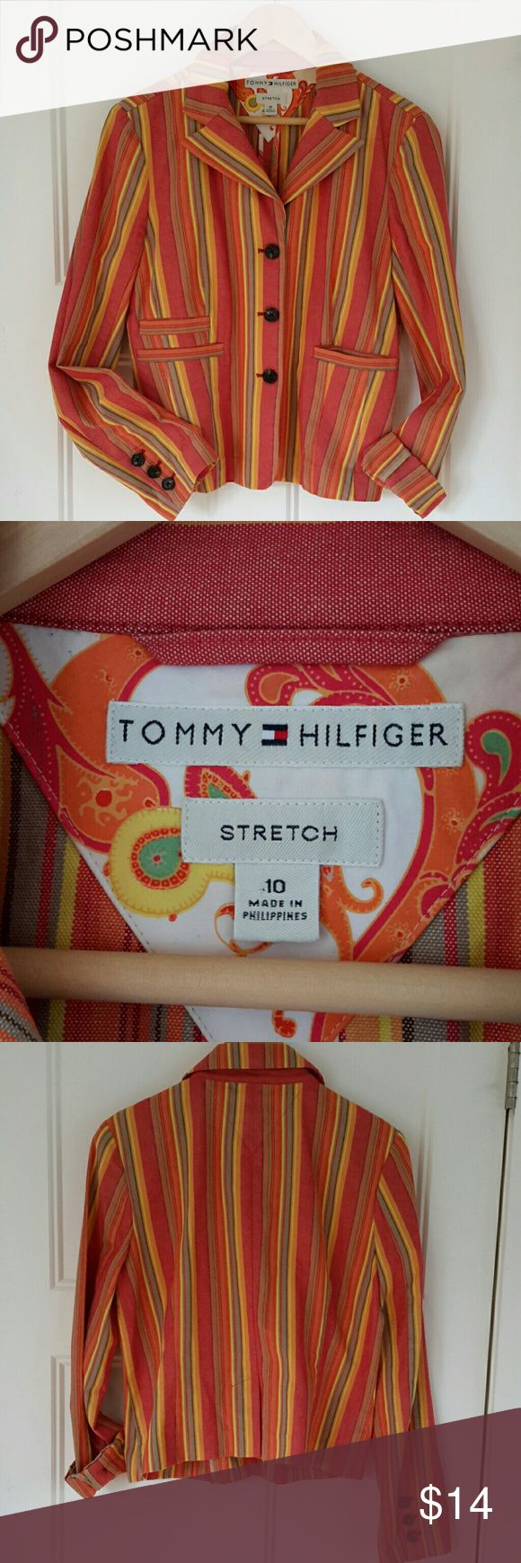 Tommy Hilfiger striped blazer Multicolor striped cotton blazer in red, yellow, orange with tan. Excellent tailoring details and it is washable. Logo embossed buttons. Unlined. Tommy Hilfiger Jackets & Coats Blazers