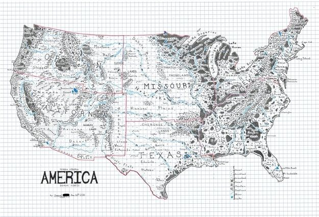 the us drawn like a map from a fantasy novel