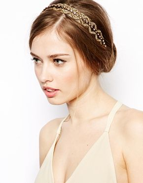 Image 1 of Deepa Gurnani Wide Diamond Shaped Plait Headband