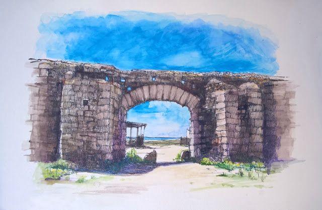 Castillo de las Almadrabas, Zahara de los Atunes, Cádiz. Acuarela y Tinta. 407x297mm. Papel canson 300gr