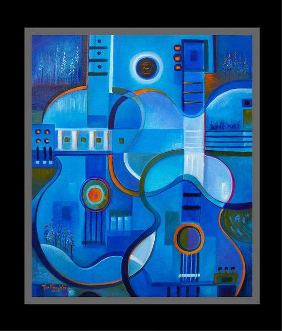 Aceite abstracto cubista pintura Original arte azul por MarlinaVera