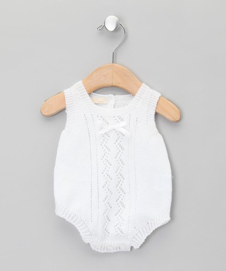 Dinos Bebe White Embroidered Knitted Bodysuit - Infant