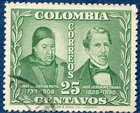 Josè Celestino Mutis e Geronimo Triana - Colombia 1947 Francobolli Medicina - Personaggi famosi - Famous People - Medicine Stamps
