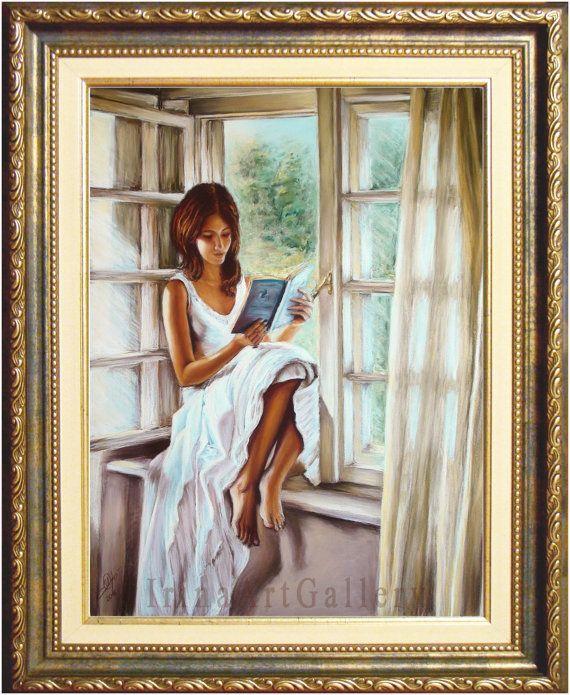 Girl Reading Book Window Sunlight Pastel by IrinaArtGallery
