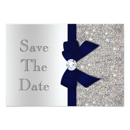 Silver Glitter Wedding Save the Date Cards Navy Faux Bow & Diamonds Silver Save The Date Card