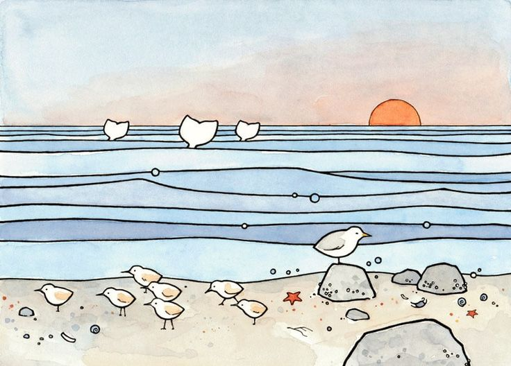 A whimsical illustration of the beach with sandpipers, whales, a seagull and little seashore treasures by the tideline. High quality art print Signed and dated Prints come in white acid-free mats (sta