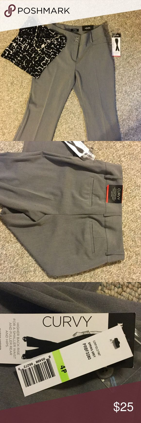 Rafaella dress pants NWT Spring grey, brand new, Rafaella pants. Nice for work. They're a little stretchy. Higher back rise for a smaller waist and fuller rear and hips. NWT Rafaella Pants Trousers