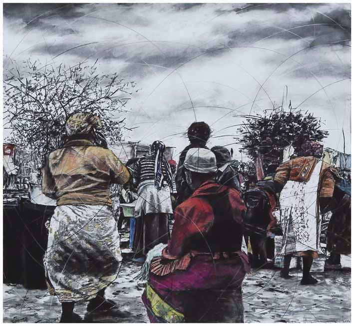 An original work by Phillemon Hlungwani entitled: Ku Xonga ka Nwansati I Mi Ntirho Leyi Nen. I (Women show their Beauty by what they do), mixed media on paper 151 x 161cm. For more please visit www.finearts.co.za