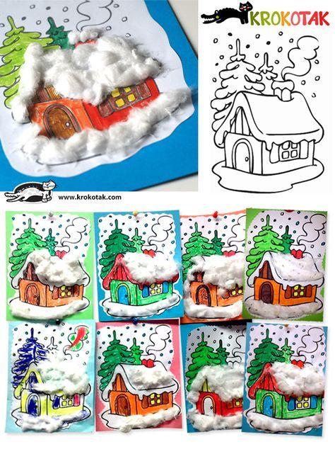 Lavoretti di Natale 2014: Casette innevate con ovatta