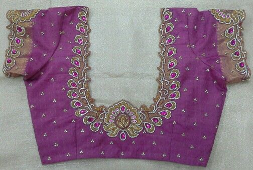 Pattu blouse with maggam work 91 9866583602 whatsapp no 7702919644