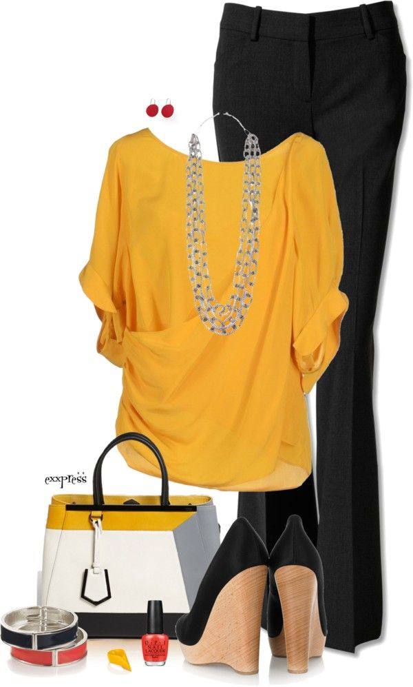 """Black, Yellow and Wedge Pumps"" by exxpress on Polyvore (I don't love the shoes though)"