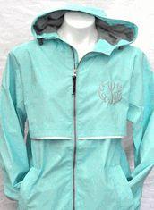Monogrammed Full Zip Waterproof Rain Jacket   GETTING THIS.