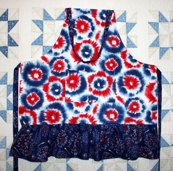 Ladies Patriotic Boho Apron Red-White-Blue Ruffled Apron with deep front Pockets. Tie Dye and Fireworks! by RowesFlyingNeedles