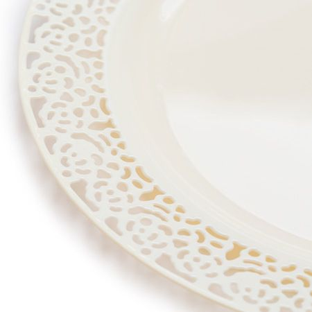 1258 Lace Ivory Plastic Dinnerware Value Set