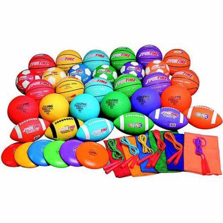 Sportime Gradestuff Elementary School Equipment Pack, Assorted Colors, Pack of 48