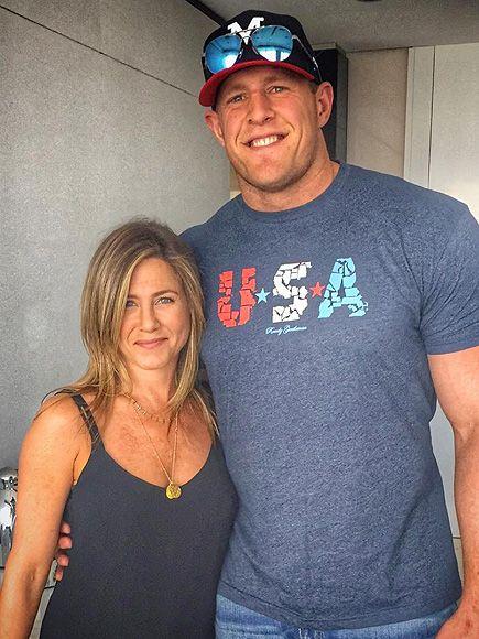 NFL Star JJ Watt Met His Celebrity Crush Jennifer Aniston and Lost His Mind over It http://www.people.com/article/jj-watt-met-crush-jennifer-aniston
