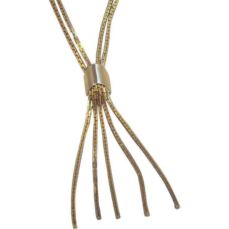 Vintage Textured Shiny Goldtone Metal Double Strand Dangle Necklace. found at www.rubylane.com #vintagebeginshere