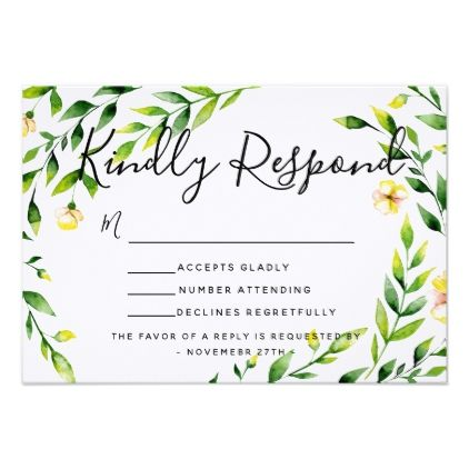 Spring wedding yellow invite RSVP reply card - summer wedding diy marriage customize personalize couple idea individuel
