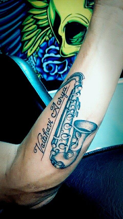 Saxophone Tattoo by Artist Sandip Uttam | Saxofoon ...