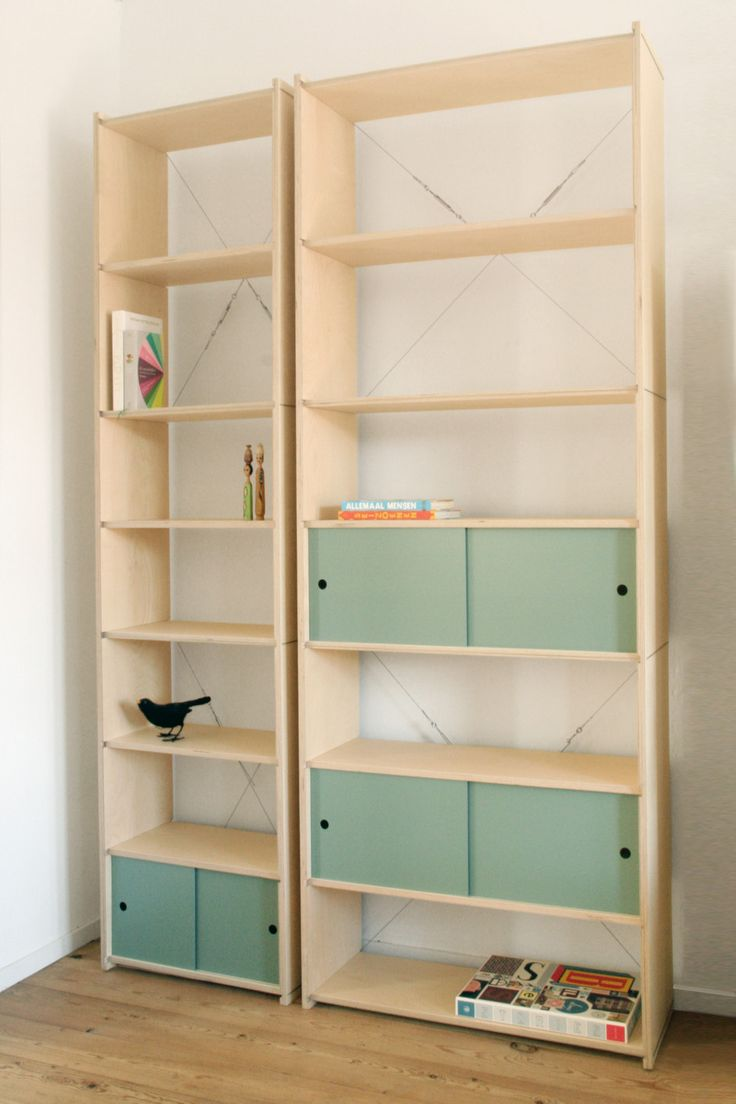 Wooden Bookshelves System Cable by sandra nielen made in The Netherlands on CROWDYHOUSE