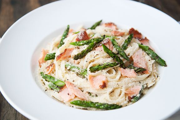 hot smoked salmon and asparagus pasta recipe | use real butter