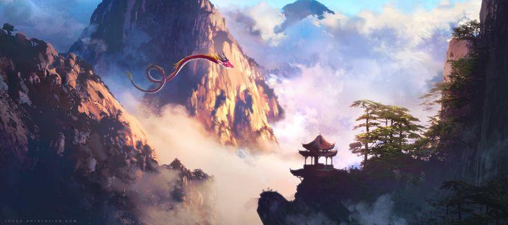 Legend of the red dragon, Sylvain Sarrailh on ArtStation at https://www.artstation.com/artwork/vr1DO
