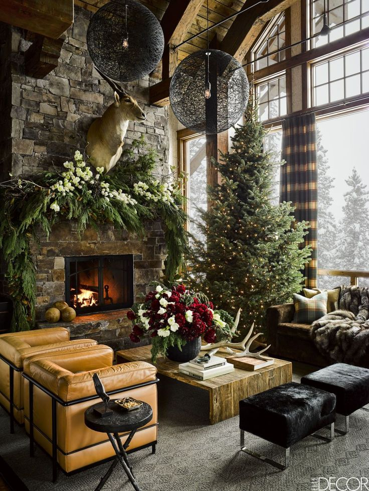 In a ski house designed by Ken Fulk at Montana's Yellowstone Club, the living area's sectional sofa and cable-knit rug are by Ralph Lauren Home