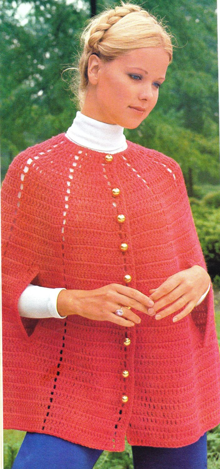 Crochet Easy Buttoned Down Red Cape Pattern - Red Poncho Pattern - Digital Download by SassyloveCrochet on Etsy
