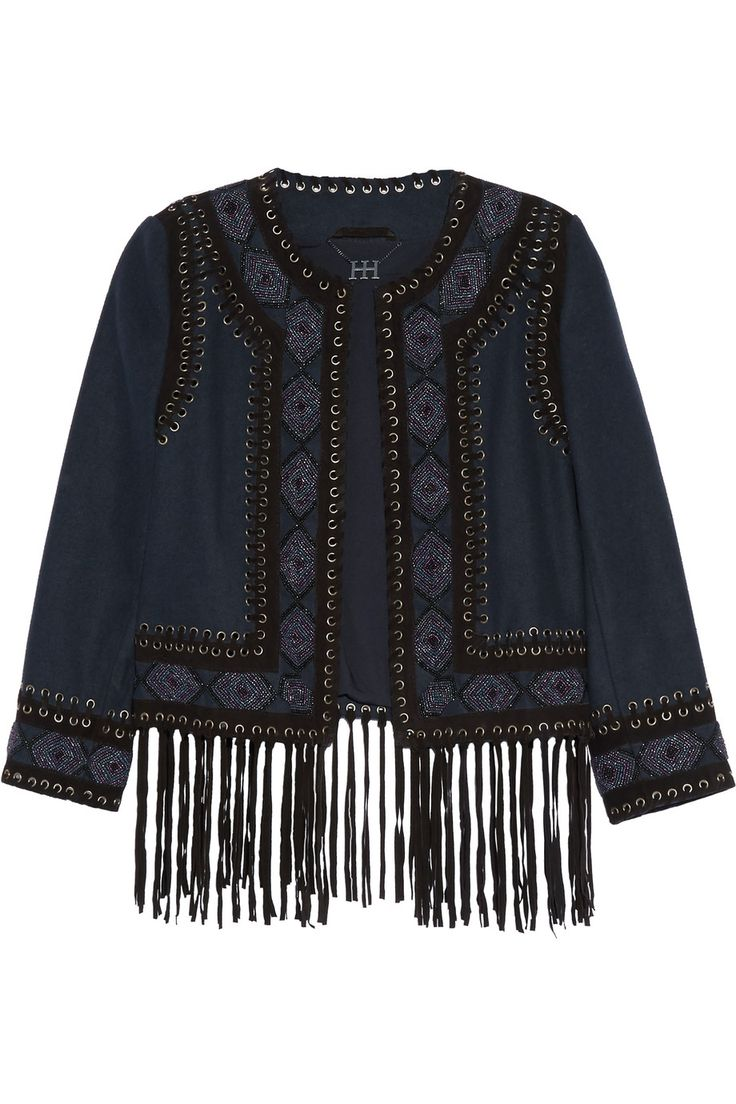 HAUTE HIPPIE Fringed suede-trimmed beaded felt jacket. #hautehippie #cloth #jacket
