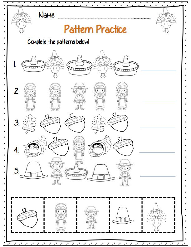 Thanksgiving patterning practice! Part of math kdg packet for Thanksgiving!
