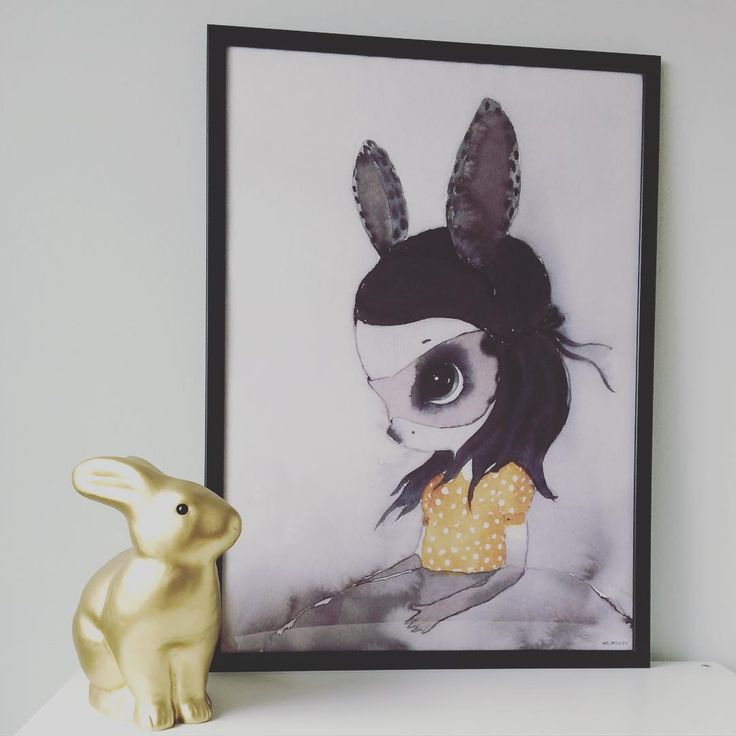 Gold rabbit lamp, Miss Lola print by Mrs. Mighetto