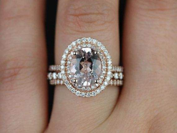 Original Cara & Petite Bubble Breathe 14kt Rose Gold Oval Morganite Double Halo TRIO Wedding Set (Other metals and stone options available)