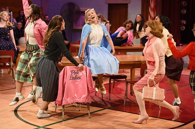 Fox made a bold step into the live television musical arena tonight with Grease: Live!, a technically ambitious production that upped the ante set by NBC's recent shows by adding multiple soundstages, exterior shots, and a live audience.