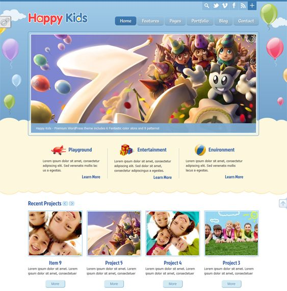 This WordPress theme for children offers a responsive layout, unlimited sidebars, 9 background patterns, 6 predefined color schemes, a custom translator, SEO optimized code, multiple sliders, portfolio pages, Google Fonts support, and more.