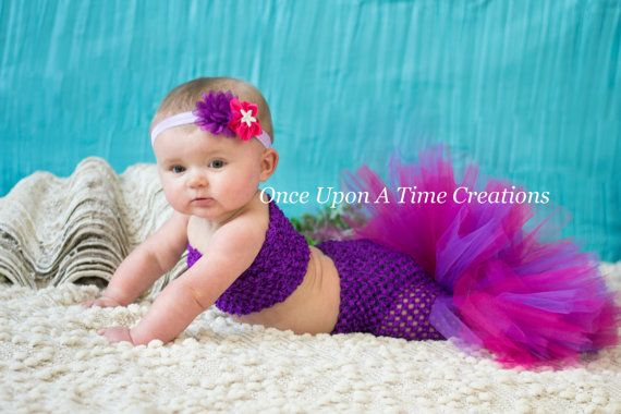 The Purple Princess Fishtail Tutu Set - Baby Guppies Girl Size Newborn 3 6 9 12 Months - Under The Sea Mermaid Birthday Party Outfit on Etsy, $29.99