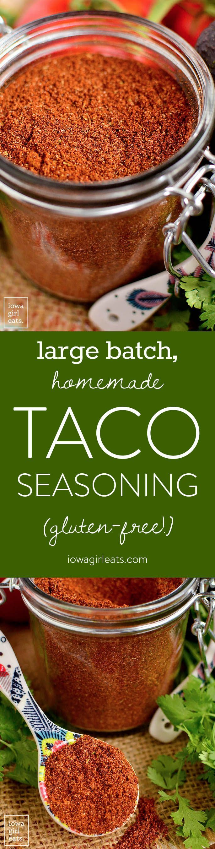 Large Batch Homemade Taco Seasoning is a cinch to prepare and ready when you are for taco night! Free from gluten, dairy, artificial flavors and colors, and preservatives.   iowagirleats.com