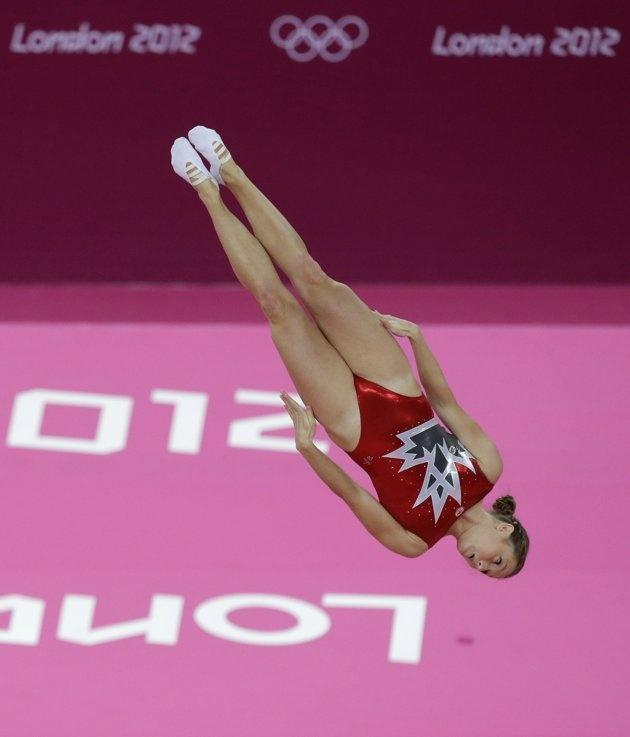 Canada's Rosannagh Maclennan performs during the women's trampoline qualification at the 2012 Summer Olympics, Friday, Aug. 3, 2012, in London.