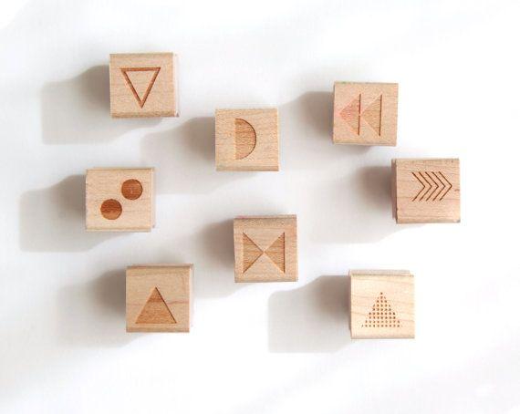 Mix und Match 8 Mini Stempel geometrische Formen (Holz montiert) Original abstrakte Mustern für Scrapbooking oder Gefälligkeiten, Mini-Duos